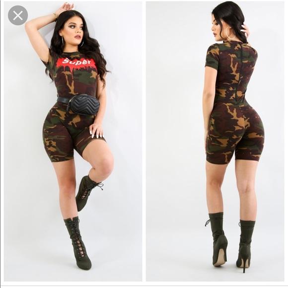 26b0e7c08695 Fashion Nova Pants - Fashion Nova Super Camouflage Romper